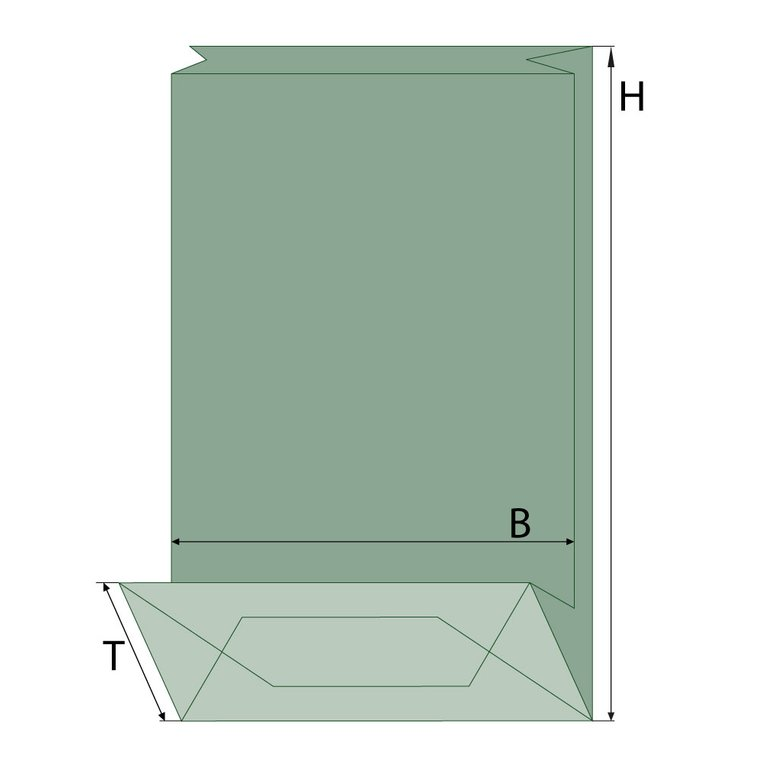 Blockbodenbeutel, chamois, Fenster oval
