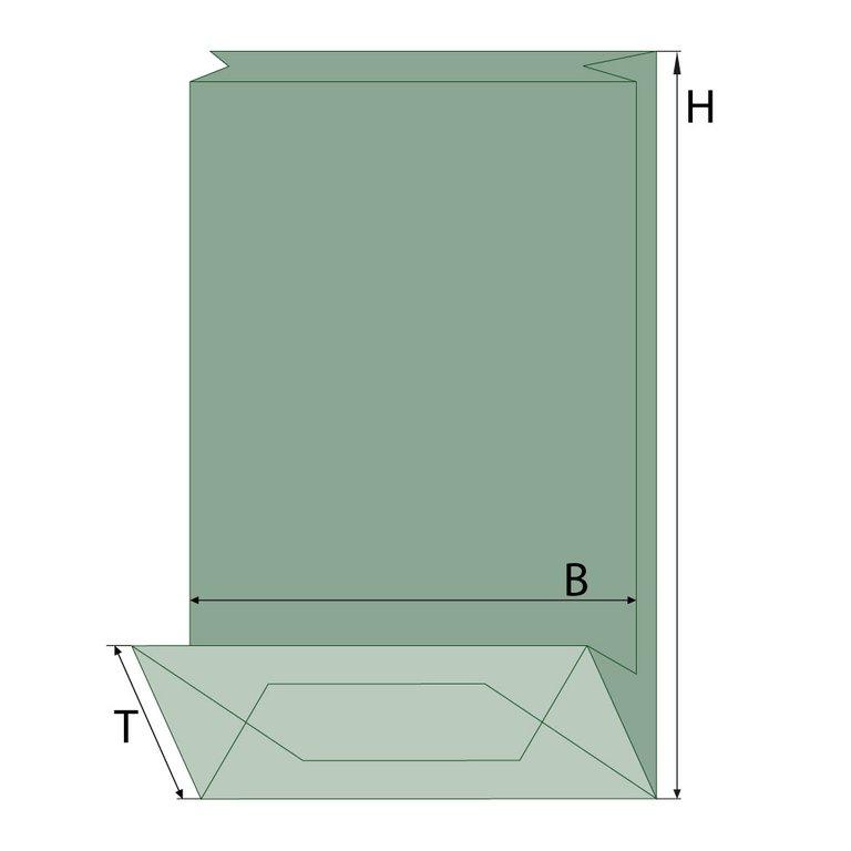 Blockbodenbeutel, braun/grün, Fenster oval