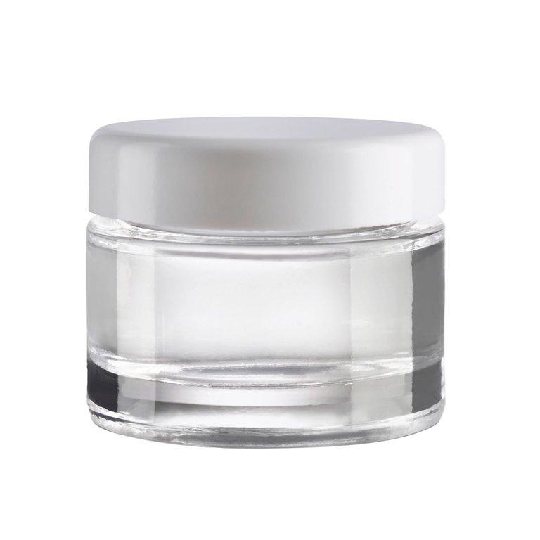 Kosmetik Glastiegel 30ml, Klarglas, schwerer Boden