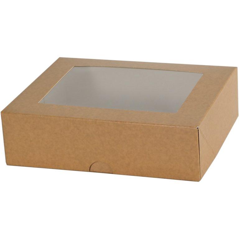 Mehlspeiskarton klein, braun, Fenster