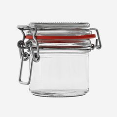Wire bail jar 135ml, white, round