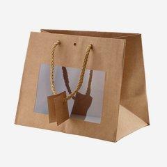 Geschenktragetasche, natur, mit Fenster, groß