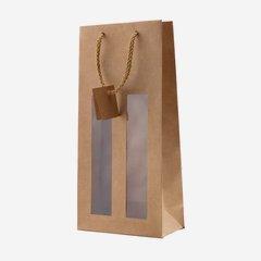 Flaschentragetasche, natur, mit 2 Fenstern