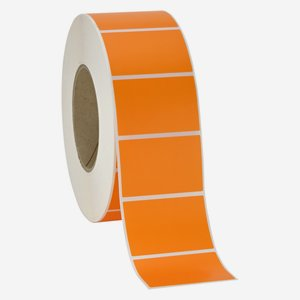 Etikette 40x60mm, orange, quer am Band