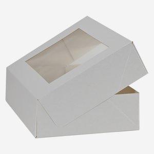 Mehlspeiskarton klein, weiß, Fenster