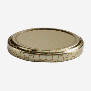 TWIST-OFF DECKEL, ø63mm, gold mit Wabendekor