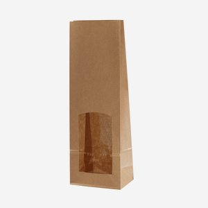 Blockbodenbeutel, braun/braun, Fenster eckig, groß