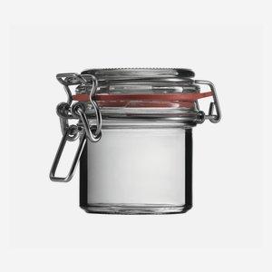 Drahtbügelglas 125 ml, Weißglas, rund