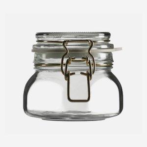 Drahtbügelglas 314 ml, Weißglas, Vierkant