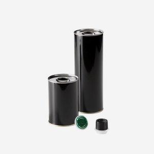 Öldose 250ml, rund, schwarz, Boden & Deckel blank
