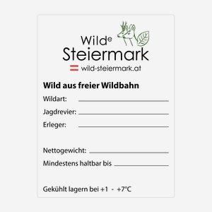 """Etikette 60x80mm, """"Wilde Steiermark"""""""