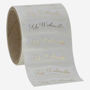 Etikette Schleife mit Spruch, 19x70mm, weiß,  1c