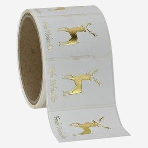 Etikette Hirsch+ WGruß, 40x60mm, Relief+HP Gold