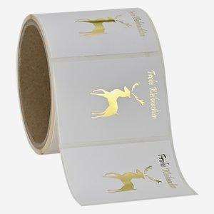 Etikette Hirsch+ WGruß, 50x70mm, Relief+HP Gold