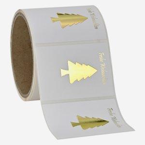 Etikette Christbaum+WGruß, 50x70mm, Relief+HP Gold