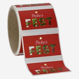 """Etikette rot, mit Spruch """"Frohes Fest"""", 37x63mm"""