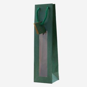 Flaschentragetasche, grün, mit Fenster