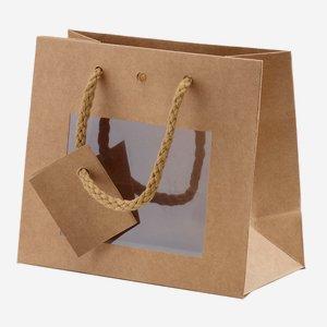 Geschenktragetasche, natur, mit Fenster, medium
