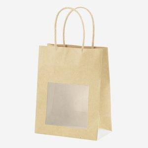 Geschenktragetasche, natur, mit Fenster, klein