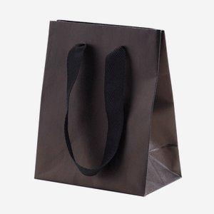 Geschenktragetasche mit Band, klein, Schwarz