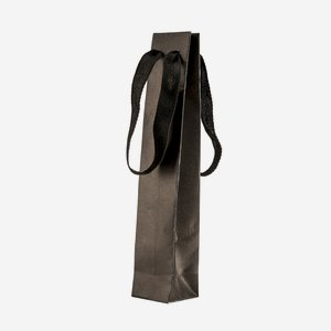 Flaschentragetasche klein, mit Band, Schwarz