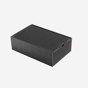 Geschenkkarton, Außenwelle,schwarz, H26 x B16 x T8