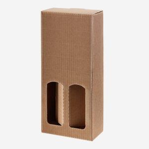 Geschenkkarton eCo-Außenwelle - 2 Flaschen, braun