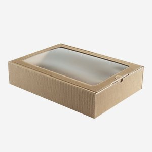 Geschenkkarton, braun, Fenster, H38 x B26,5 x T8,5