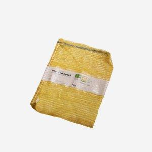 Netzsack gelb mit Zugband und bedruckter Banderole