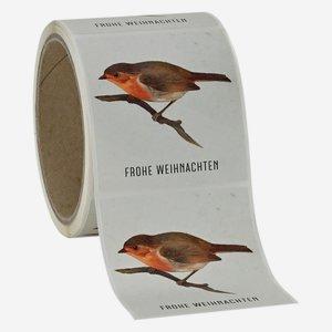 """Etikette Weihnachten, Motiv """"Rotkehlchen"""", 65x70mm"""