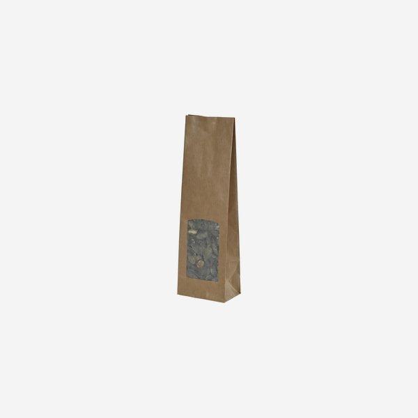 Blockbodenbeutel, 100% Papier, braun,Fenster eckig