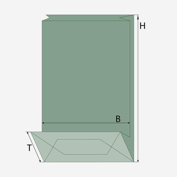 Blockbodenbeutel, braun/blau, Fenster oval, klein