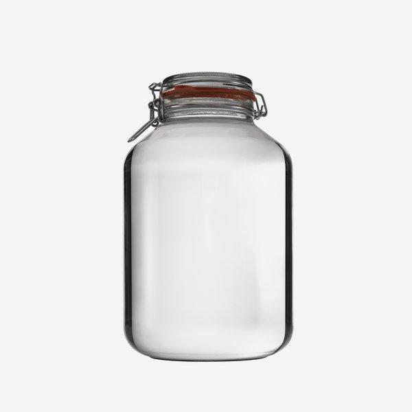 Drahtbügelglas 4880ml, Weißglas, rund