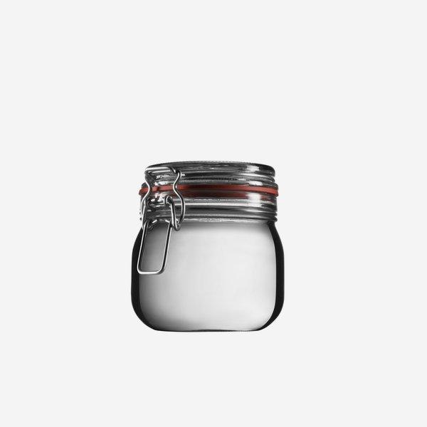 Drahtbügelglas, 634ml, Weißglas, rund