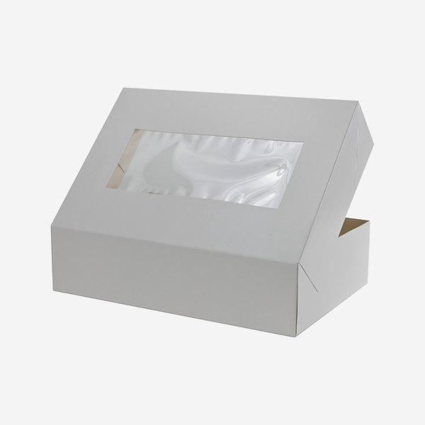 Mehlspeiskarton groß, weiß, Fenster