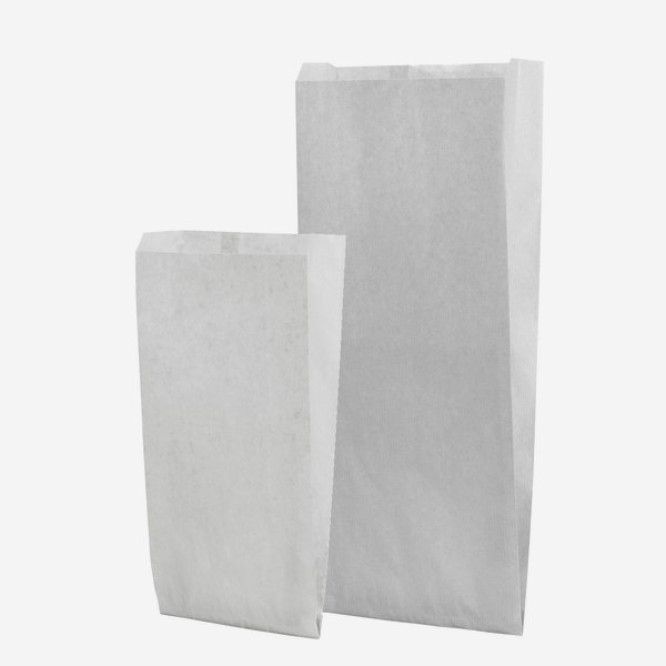 Seitenfaltensack aus Pergamentersatzpapier, weiß