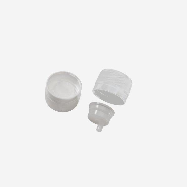 Schraubverschluss mit Tropfeinsatz PP28mm, weiß