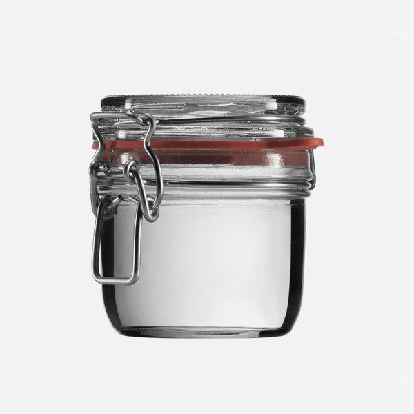 Drahtbügelglas 255ml, Weißglas, rund