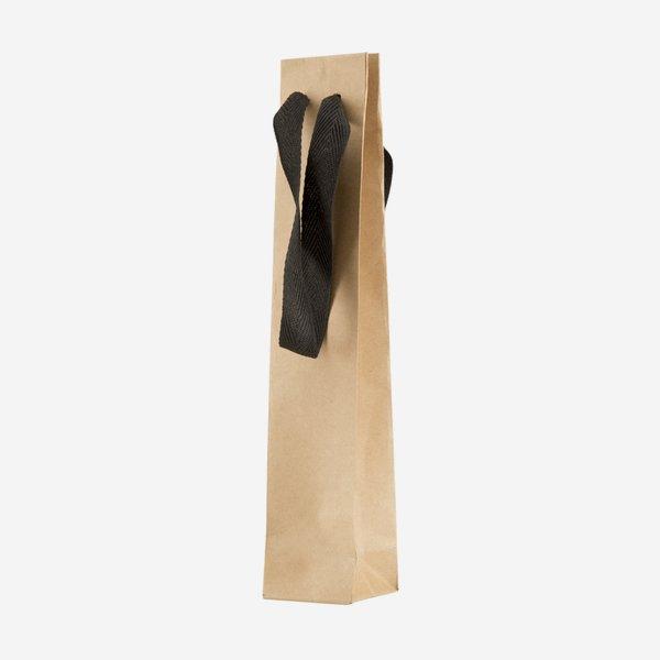 Geschenktragetasche klein, mit Band, Braun