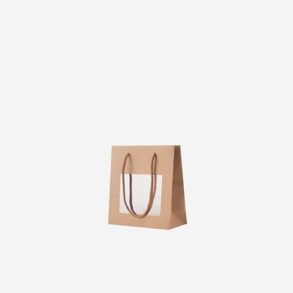 Geschenktragetasche, braun, Fenster, 225/110/295