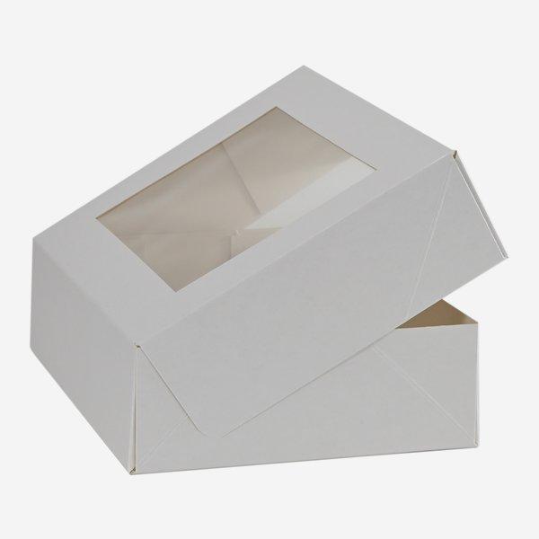 Mehlspeiskarton mittelgroß, weiß, Fenster