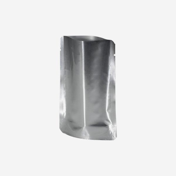 Standbeutel, silber, H140 x B93 x T20 mm